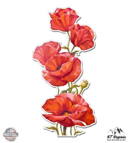 GT Graphics Poppies Watercolor Beautiful Poppy Flowers - 3 Vinyl Sticker - for Car Laptop I-Pad Phone Helmet Hard Hat - Waterproof Decal