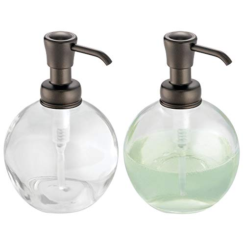mDesign Round Glass Refillable Liquid Soap Dispenser Pump Bottle for Kitchen Sink, Bathroom Vanity Countertops - Holds Hand Sanitizer & Essential Oils - 14 Ounce, 2 Pack - Clear/Bronze Pump Head