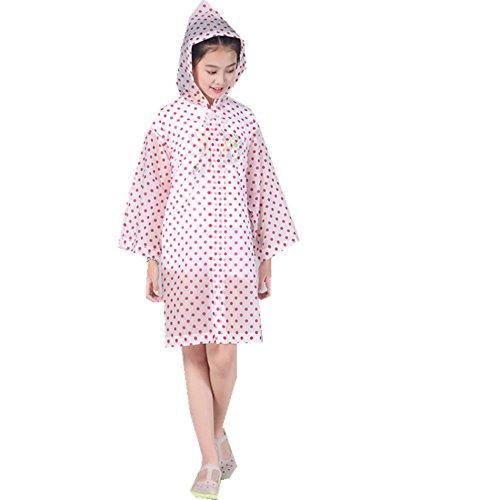 Yiluweinir Kids Raincoat With 2 Pockets Girl Boy Waterproof Hood Rain Jacket Outdoor Age 4-14 With Bag A06-1-1