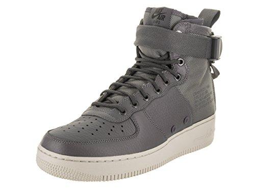 Nike Herre Sf Luftvåben 1 Midten Sort Leder / Textil Sneaker Mørkegrå / Mørkegrå Lys Knogle i1c33