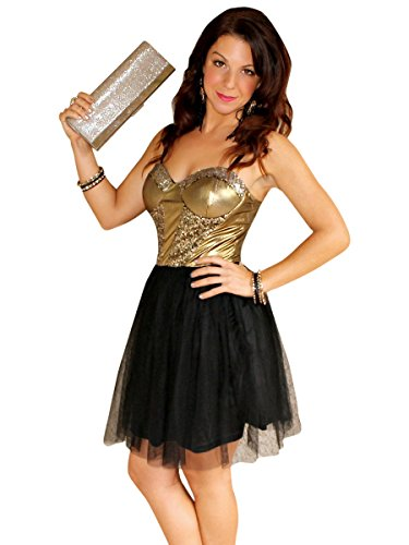 Social Butterfly House Women's Anastasia Black and Gold Sequin Tulle Bustier Dress Small Gold -