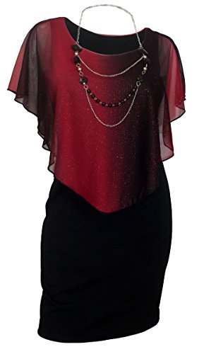 eVogues Women's Layered Poncho Dress Glitter Red 17513-3X