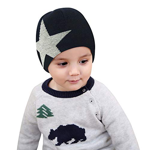- BAVST Baby Boys Beanie Soft Toddler Cotton Caps Lovely Unisex Infant Baby Hats Star Pattern (Navy, L(18.11 inches))
