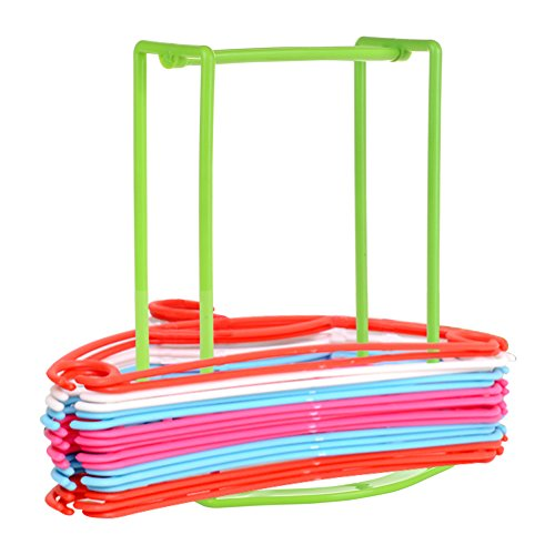 Large Capacity Laundry Cart (Standing Clothes Hanger Stacker Holder Drying Rack Caddy Premium Grade PP Tidier Laundry Room Closet Organizer Large Capacity Hold Up to 30 Plastic Material with Manual for Installation)