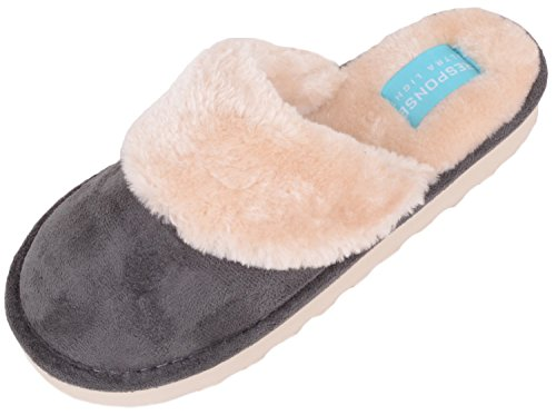 Mules Shoes Womens Charcoal On Slip Slippers Ladies Foam Inners Indoor with Memory WYqTwIwdp