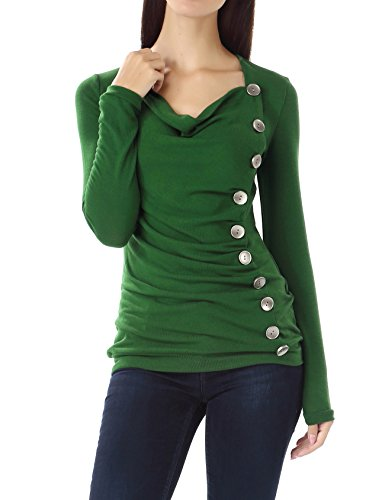 Bepei Women long sleeves button embellished cowl neck shirts Green S