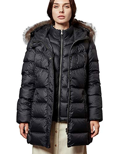 Escalier Women's Down Jacket with Real Fur Hooded Winter Parka Coat Black M