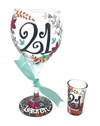 Hand Painted Personalized 21 Wine glass and Shot Glass Gray Floral Laurel ()