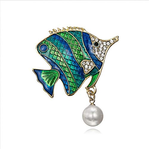SKZKK Jewelry Women's Accessories for Women Handmade Craft Animal Corsage for Women,Fashion Diamond Small Fish Dress Brooch Pin Pearls Pendant Elegant