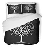 Emvency 3 Piece Duvet Cover Set Brushed Microfiber Fabric Breathable Autumn Tree Silhouette Black and White Gondor Lord of The Ring Branches Drawing Bedding Set with 2 Pillow Covers Full/Queen Size