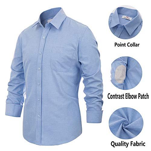 - Men's Shirt Regular-Fit Oxford Dress Shirt with Pocket Elbow Patch (S,Blue)