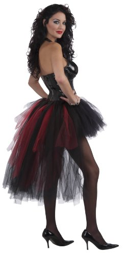 Forum Novelties Woman's Vampiress Burlesque Tutu, Black/Red, One Size (Ruffle Vampiress Costumes)