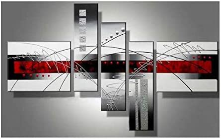 Amazon Com Wieco Art 5 Piece Perfect White Lines Stretched And Framed Hand Painted Modern Abstract Oil Paintings On Canvas Wall Art Set Framed Art For Living Room Paintings