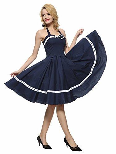 f9922106c927 Maggie Tang Women's 1950s Halter Vintage Rockabilly Dress Casual ...