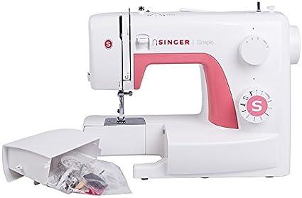 Singer Simple 3210 - Máquina de coser mecánica, 10 puntadas, 120 V, color blanco y rosa: Amazon.es: Hogar