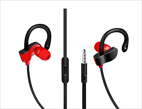 EDOG Ear hook Sport Running Gym Earphones,iPhone Earbuds, Apple Earbuds,Headphones, headsets,with Mic&Call Control for iPhone SE/5S/5C/5/6/6S Plus,iPad /iPod Nano 7/iPod Touch/Samsung/HTC/LG more(Red) (Nano Ipod Mic)