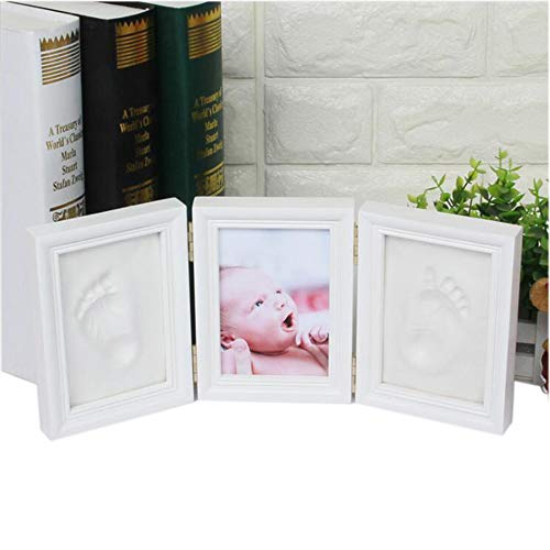 - Neato Tek Newborn Baby Handprint and Footprint Picture Frame Kit, Memorable and Unique Baby Shower Gift Idea, Keepsake Decoration for Registry, Personalized Table and Wall Photo-White