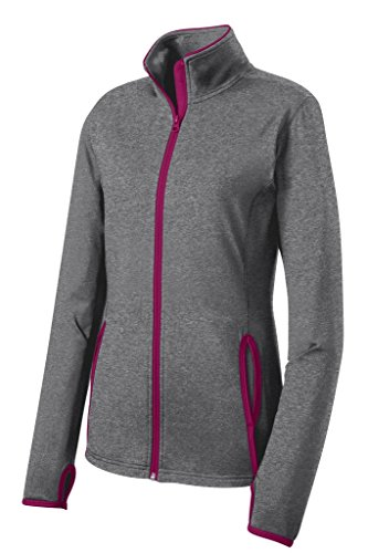 Joe's USA Ladies All Sport Wicking Stretch Contrast Full-Zip Jacket-Pink-M
