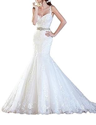 OYISHA Womens 2017 Mermaid Lace Wedding Gown Backless Bride Dress with Train WD29