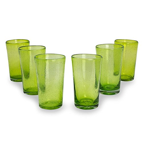(NOVICA 255877 Lime Bubbles' -Blown Highball Glasses (6 Set), 6