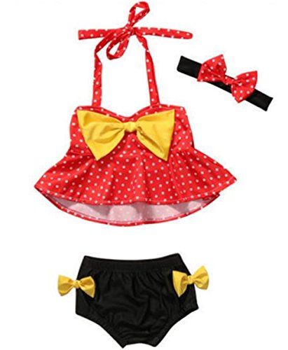 Infant Baby Girls Lovely Two Pieces Dot Print Bow Bikini Dress Beachwear Size 2-3 Years/Tag90 (Red)