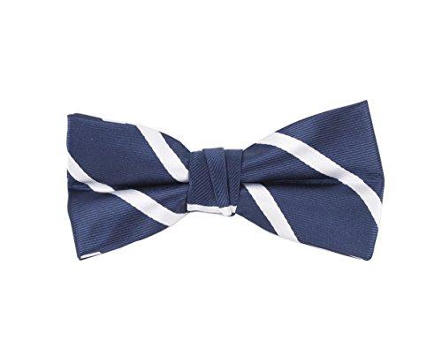 (Born to Love - Boys Kids Pre Tied Bowtie Christmas Holiday Party Dress Up Bow Tie (Medium, Navy White Stripes))