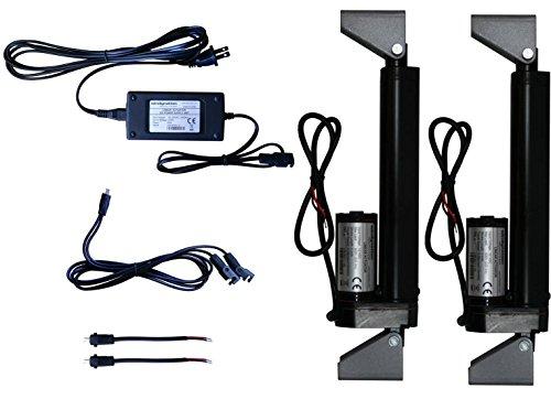 windynation 2pcs 12V actuador lineal + Fuente de alimentación + mando a distancia + Soportes, fuente de alimentación