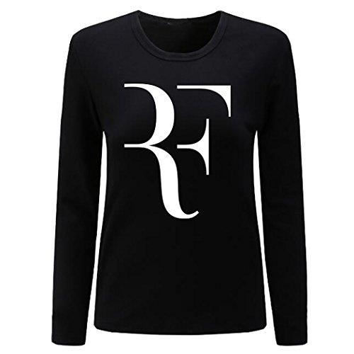 (CIN-FAN Women's Tennis Player RF Shirt Long Sleeve (Black X-Large))