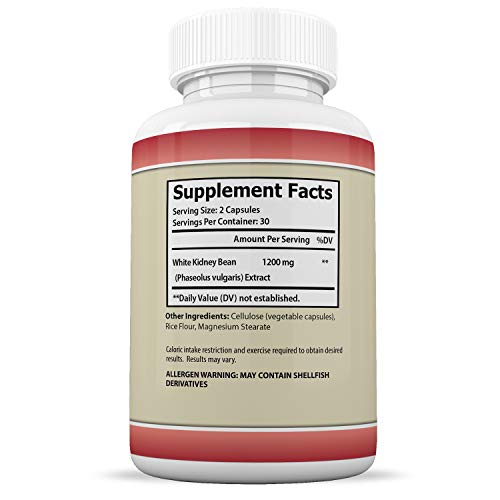 White Kidney Bean 1200 Max Weight Loss Carb Blocker Fat Burner 1200 MG 60 Capsules Per Bottle 10 Bottles by Justified Laboratories (Image #2)