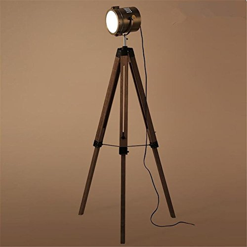 Vintage Tripod Floor Lamp Industrial Retro Wooden Standing Reading Lamp Light With Adjustable Angle Bronze Lampshade And Foot Switch For Bedroom Living Room by DHXY Floor Lamps