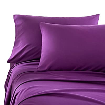 Honeymoon 1800 Brushed Microfiber Bed Sheet Set, Ultra Soft,  Queen - Purple - 100% polyester microfiber Includes: (1) Flat Sheet 90 x 102 inch; (1) Fitted Sheet 60 W x 80 L inch; (2) Pillowcases 20 x 30 inch; pillow insert sold separately This set is made of premium polyester fabric which is highly durable and lasts longer than average polyester sheet sets. A great gift for family and friends. Makes the perfect gift for any occasion - sheet-sets, bedroom-sheets-comforters, bedroom - 41XhBflaWLL. SS400  -