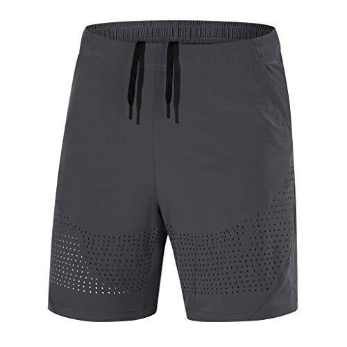 MIS1950s Mens Workout Shorts Elastic Waist Drawstring Summer Casual Fast-dryin Short Pants Plus Size (Mens Top Tank Eastbay)