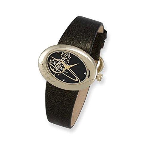 Ladies Vivienne Westwood Ellipse Gold-plated Black Strap Watch