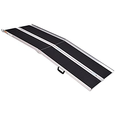 Goplus® Portable Aluminum Non-Skid 7' Multifold Wheelchair Ramp Mobility Scooter Carrier (7 Feet)