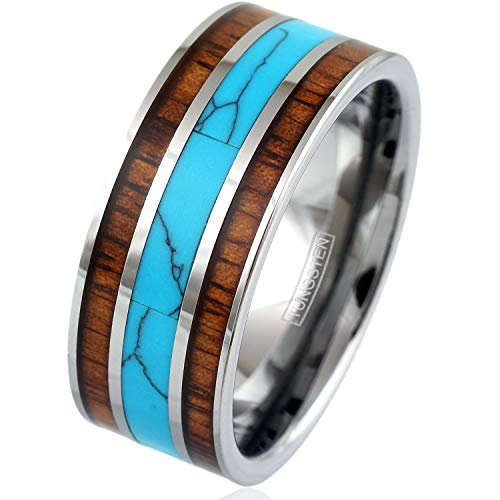- Engraved Personalized Xtra-Wide 10mm Mirror Polished Silver Tungsten Carbide Band Ring w/Gorgeous Blue Turquoise Between Two Koa Wood Inlays. (Tungsten (10mm), 11)