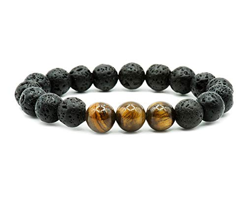 (Natural Lava Stone and Tiger Eye 10mm Beaded Handmade Healing Energy Wrist Bracelet for Men and Women (Small (7
