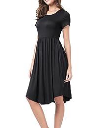 Women's Short Sleeve Elastic Waist Casual Flare Midi Dress with Pockets