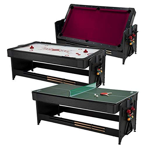 Fat Cat Pockey 7 Feet Black 3-in-1 Air Hockey, Billiards with Burgundy Felt, and Table Tennis Table