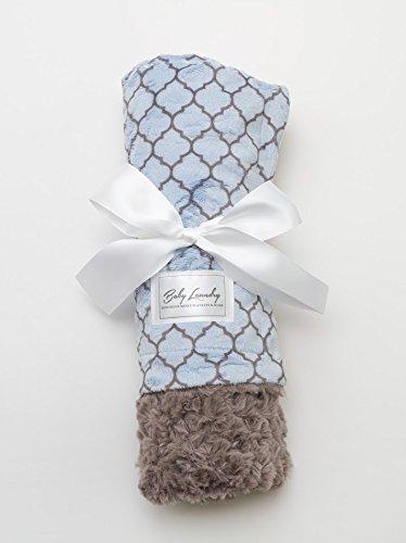 Baby Laundry Patterned Baby Blanket for Boys Girls - Blue Lattice/Gray Tile Baby - Luxury Brandname