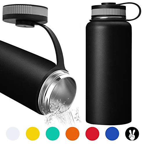32 Ounce Water Bottle - Double Wall Vacuum Stainless Steel Water Bottle Keeps Hot or Cold, Leak Proof Sports Water Bottle with Wide Mouth for Camping Travel, Thermos for Home, Office and Outdoor