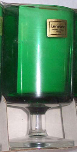 set of 6 Glasses for Cordial, Liqueur, Shooters, etc. Emerald Green with short stems Retro 1970's NIB by Luminarc Verrerie D'Arques - France Shooter