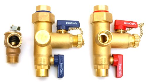BrassCraft TWV3SR Sweat X Iron Pipe Size Service Valve Kit with Pressure Relief Valve
