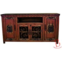 Red Junior Durango TV Stand Console With Iron Work Entertainment Center Rustic Western