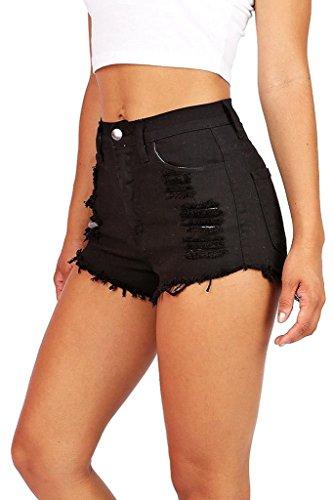 ReVeaL Women's Denim High Waist Cut-off Shorts (BK L)