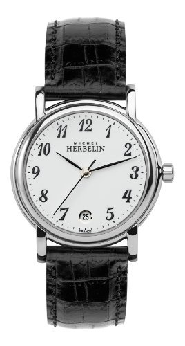 Michel Herbelin Women's Quartz Watch with White Dial Analogue Display and Black Leather Strap 12432/28
