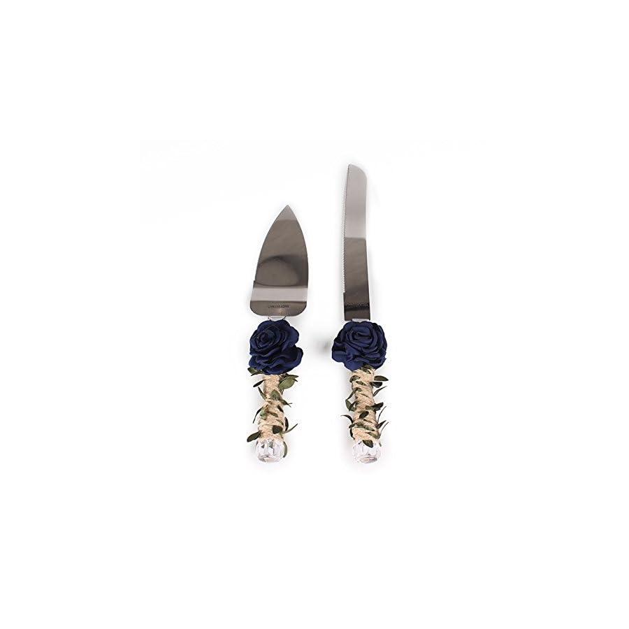 Zehui Rose and Leaf Bridal Shower Gift With Twine Handle Rustic Wedding Cake Knife and Server Set