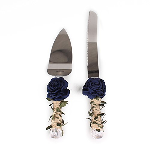 ETbotu Rustic Wedding Cake Knife and Server Set, Rose and Leaf Bridal Shower Gift with Twine Handle
