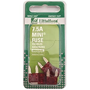 Littelfuse MIN7.5BP MINI 297 Series Fast-Acting Automotive Blade Fuse - Pack of 5