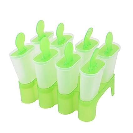 eDealMax 8 compartimentos de plástico bricolaje helado de paleta molde de la bandeja Verde Claro