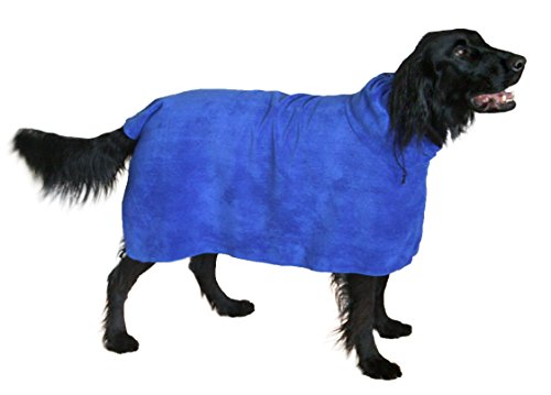 THE SNUGGLY DOG Easy Wear Dog Towel. Luxuriously Soft, Fast Drying 400gsm Microfiber. Soft Belt included for a Warm Plush Dog Robe. Medium - Soak Muscle Comfort